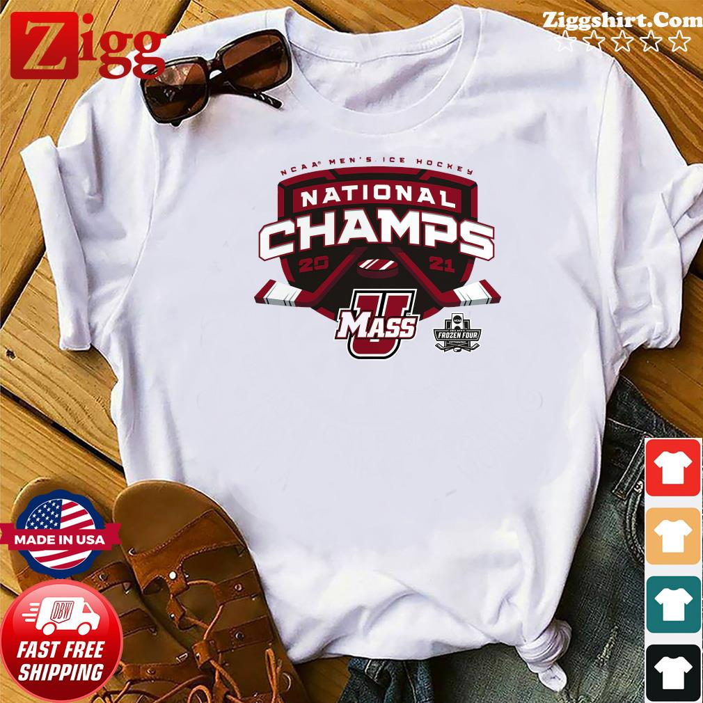Official UMass Minutemen 2021 NCAA Men's Ice Hockey National Champions T-Shirt