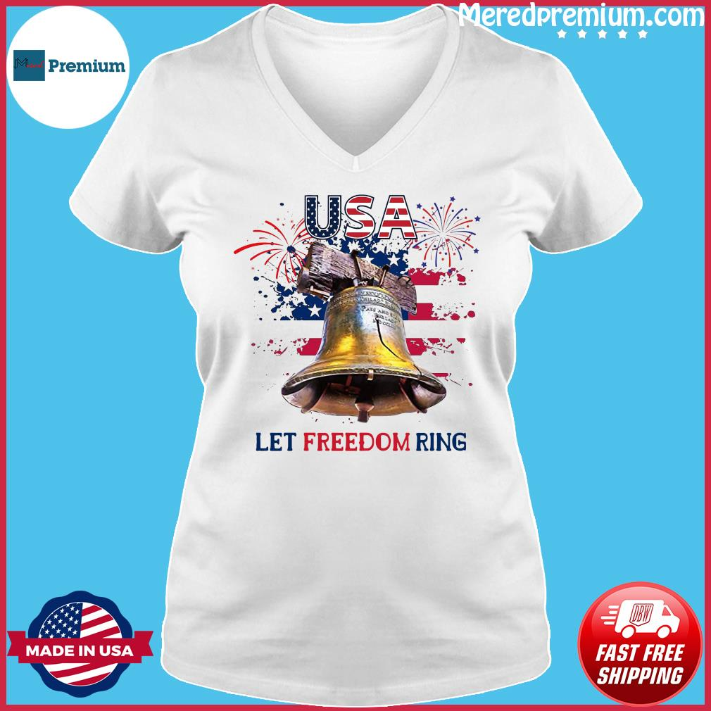Usa Let Freedom Ring 4th Of July American Flag Shirt Ladies V-neck