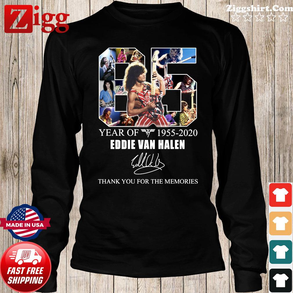 65 Years Of Eddie Van Halen 1955 2020 Thank You For The Memories Signature Shirt Long Sweater