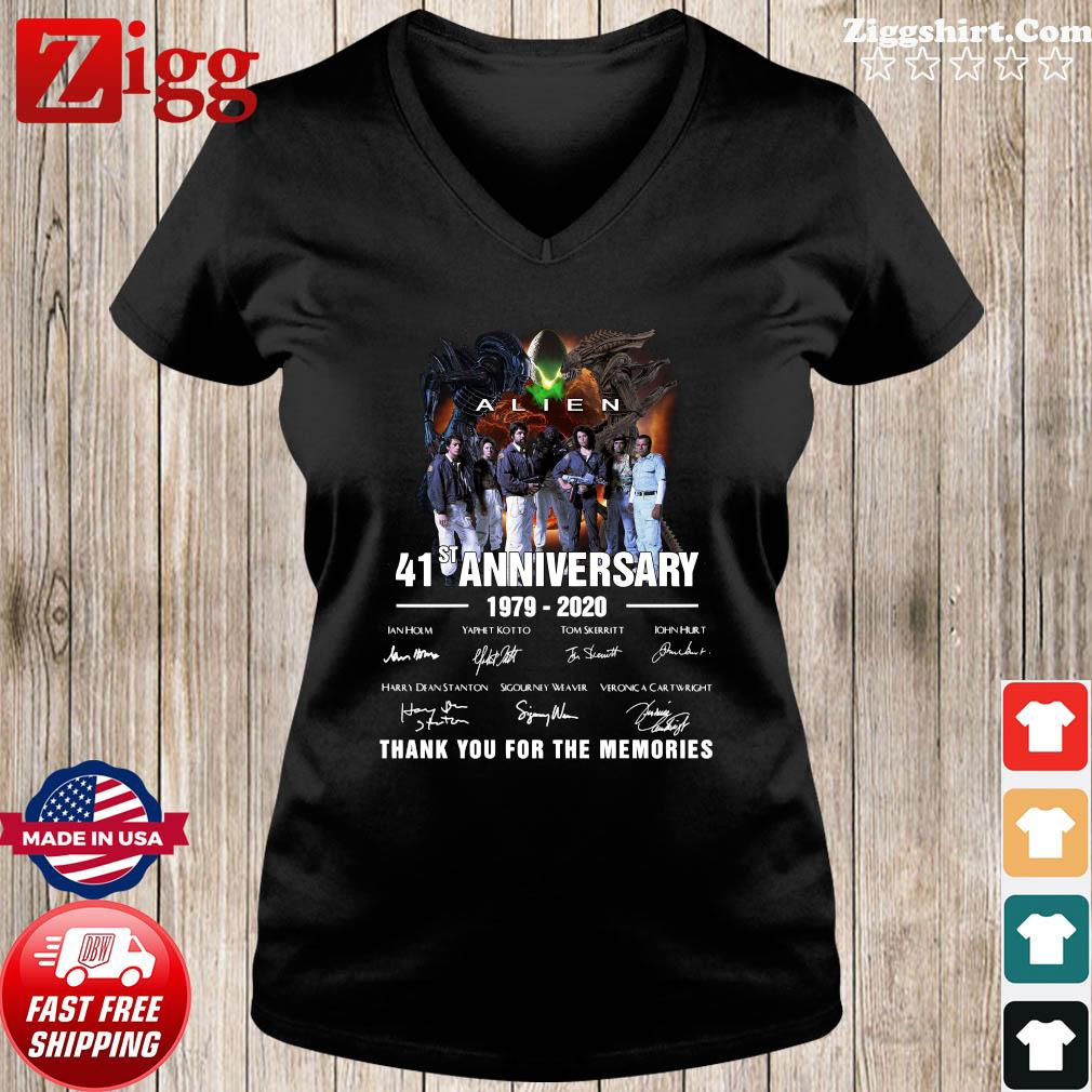 Alien 41st Anniversary 1979 2020 Thank You For The Memories Signatures Shirt Ladies tee