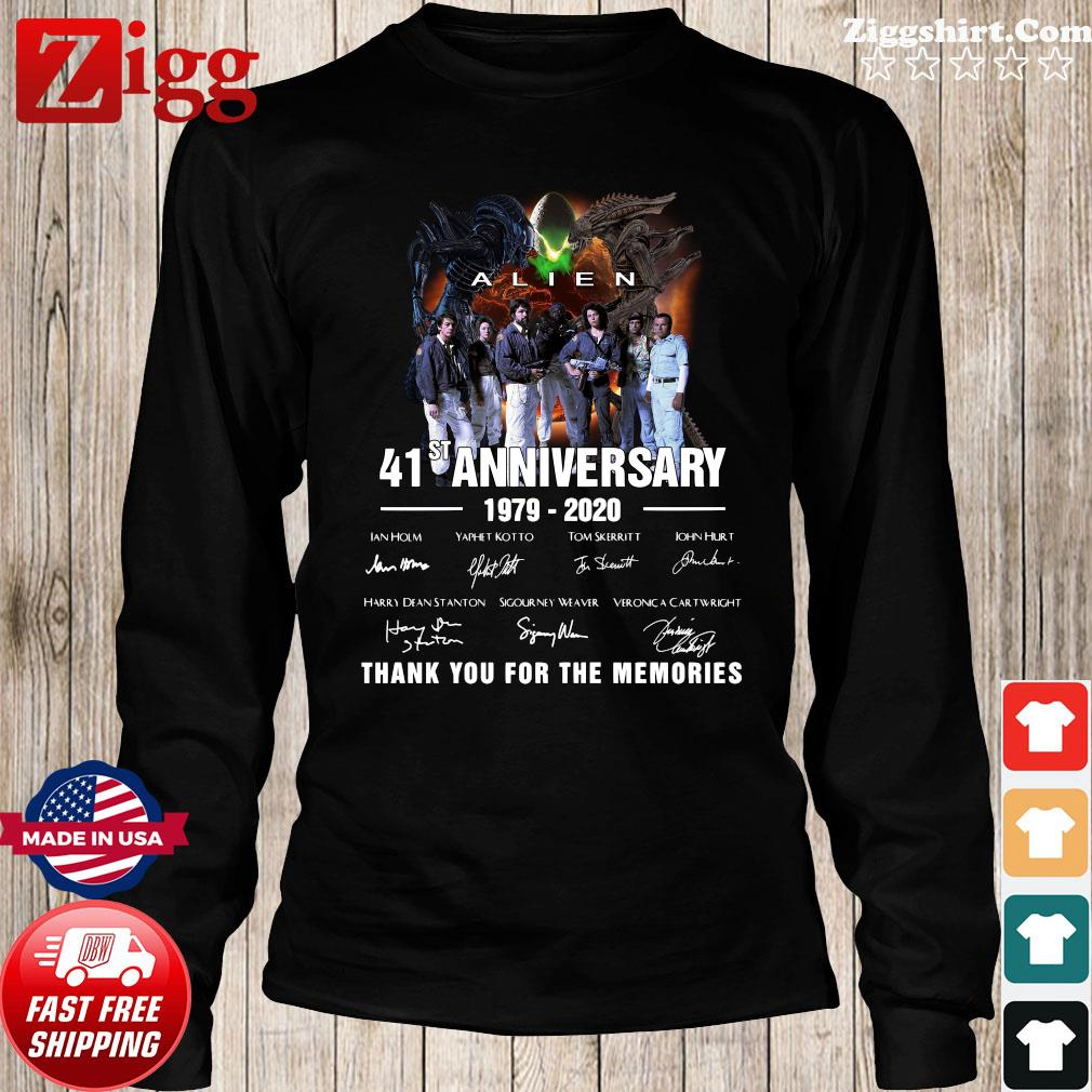 Alien 41st Anniversary 1979 2020 Thank You For The Memories Signatures Shirt Long Sweater