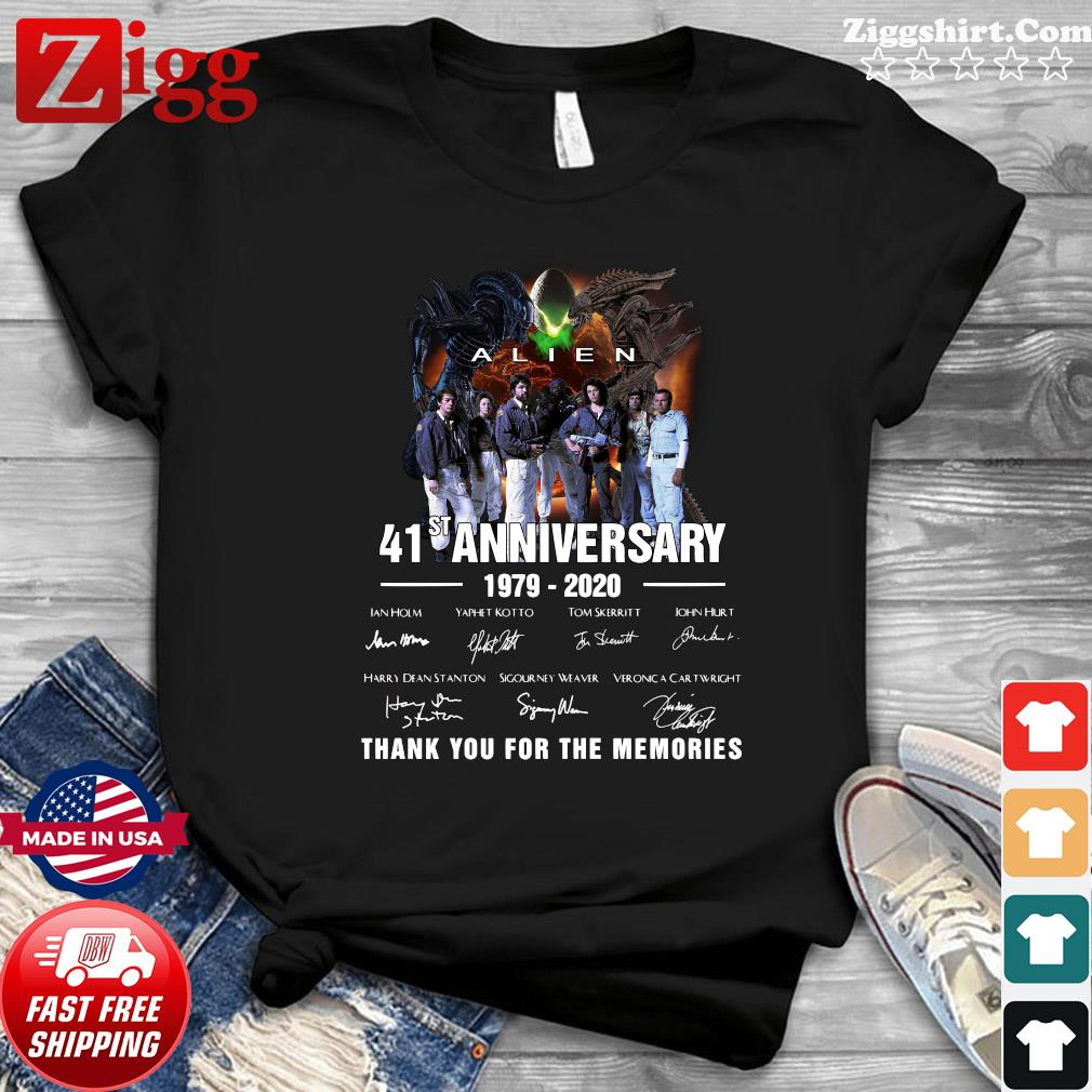 Alien 41st Anniversary 1979 2020 Thank You For The Memories Signatures Shirt