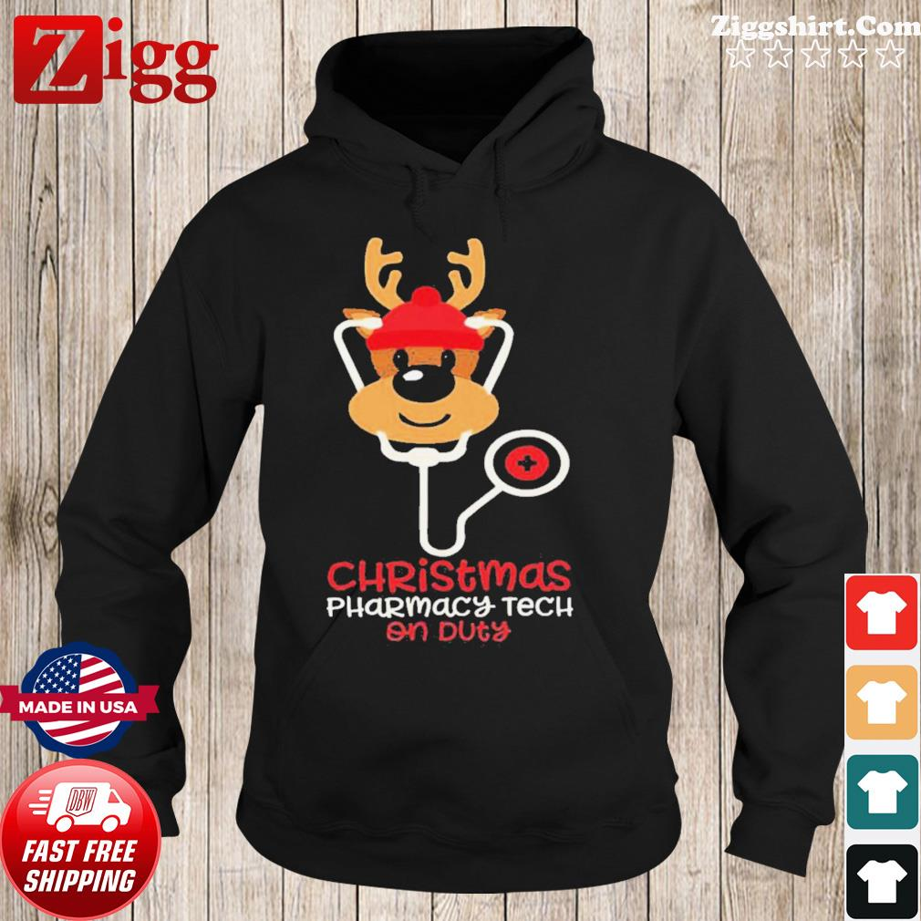 Christmas Pharmacy Tech On Duty Reindeer Nurse s Hoodie