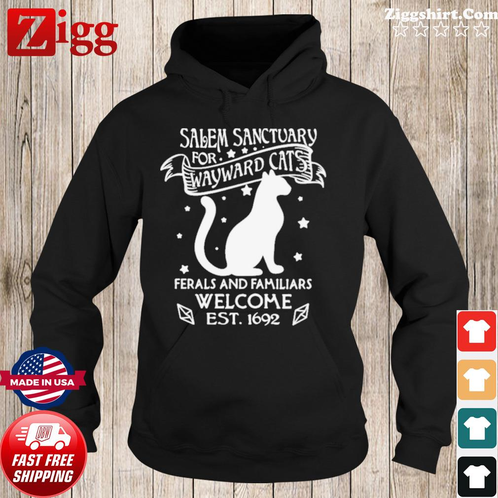 Nice Cat Salem Sanctuary For Wayward Cats Ferals And Familiars Welcome Est 1692 s Hoodie