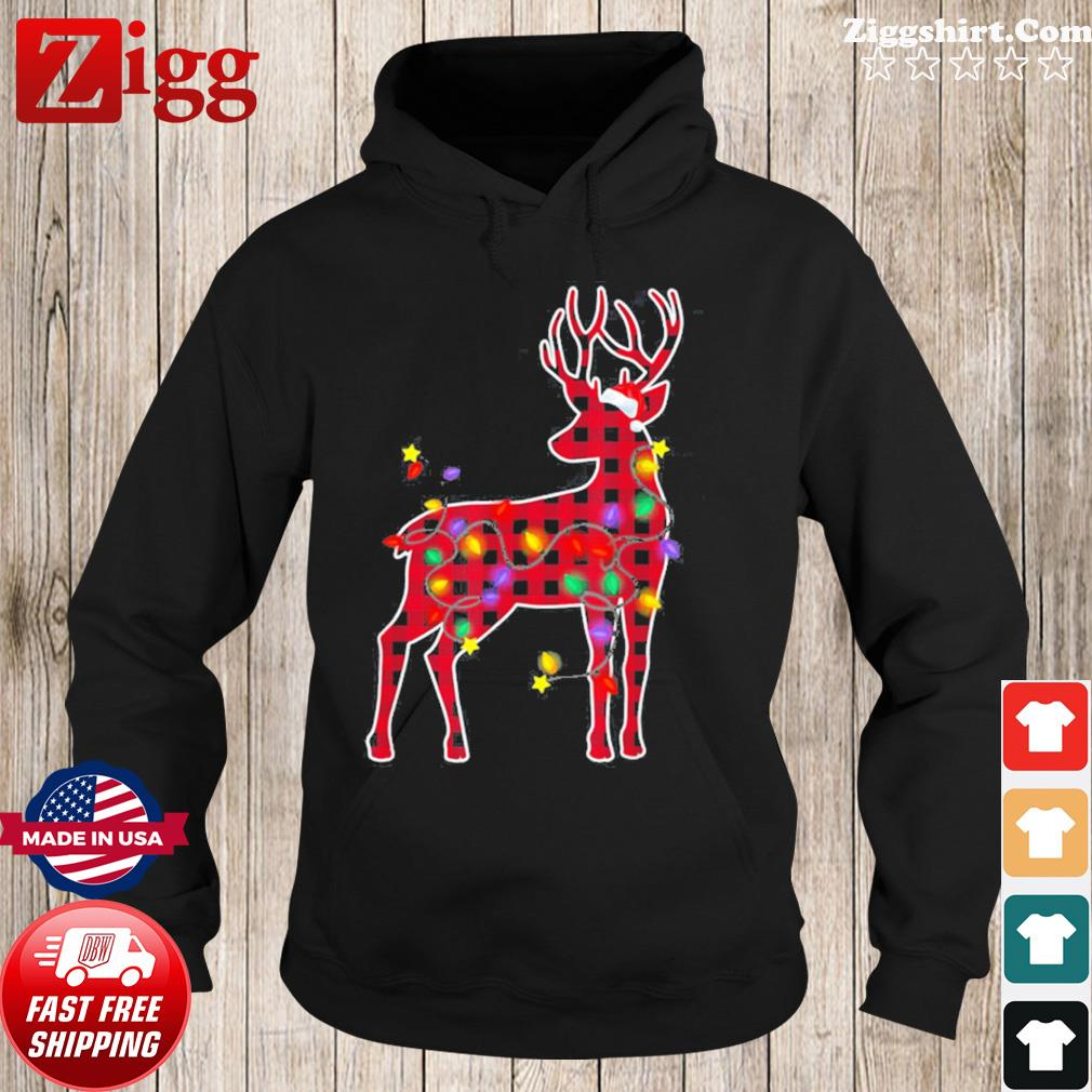 Red Plaid Buffalo Deer Christmas Pajamas Xmas Lights Sweats Hoodie