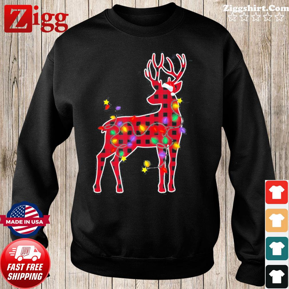 Red Plaid Buffalo Deer Christmas Pajamas Xmas Lights Sweatshirt