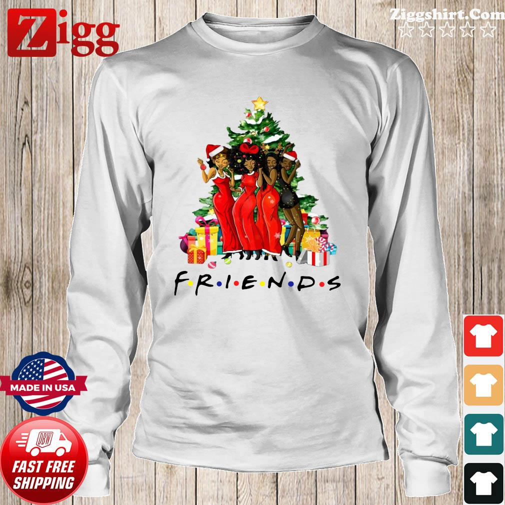 Black Womens Happy And Friends Merry Christmas Tree Sweats Long Sweater