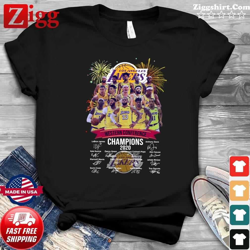 Official Los Angeles Lakers Western Conference Champions 2020 Signatures Shirt